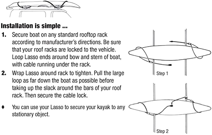 Lasso The Original Kayak Cable Lock Installation and usage guide